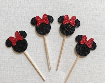 Minnie Mouse Cupcake Toppers - set of 12