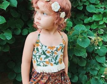 3-6 Years Block Print Crop Top, Tutu Crop Top, Hippie Toddler Top, Organic Bikini, Toddler Swim, Bohemian Kids, Organic Kids Clothing