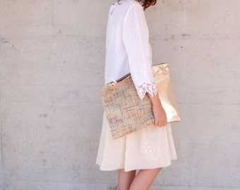 The XL Clutch in Silver Italian Leather and European Wool  - 15 Inch Wide
