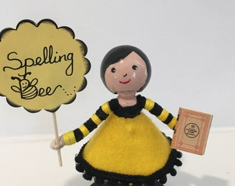 Spelling Bee clothespin doll