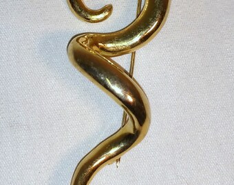 Vintage Gold Tone Swirl Brooch