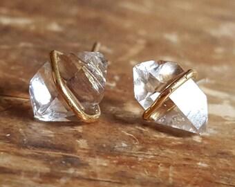 Raw Stone Stud Earrings Herkimer Diamond Jewelry Raw Crystal Earrings Girlfriend Gift Wife Herkimer 14K Diamond Studs Raw Stone Stud Earring