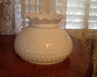 Fenton Milk Glass Hobnail Lamp Shade Ruffled Top for Parlor or Hanging Lamps