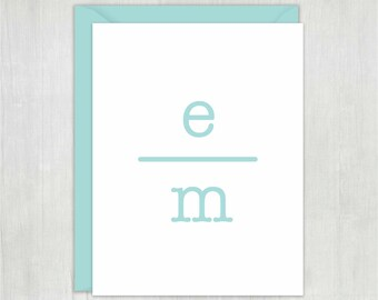 Personalized Note Cards Set • Typed Initials {FOLDED} • 10 Note Cards with Envelopes • Personalized Stationery/Stationary • Thank You Notes
