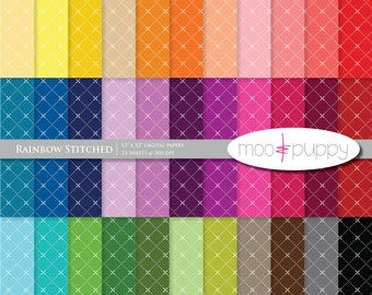 Mega SALE:   Digital Scrapbook Paper Pack  --  Rainbow Stitched -- 12x12 and 8.5x11 -- INSTANT DOWNLOAD