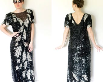 Vintage Sequins Gown   Black and Silver Sequin Floor Length Gown by Dominique