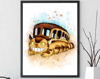 Catbus Totoro Poster, Watercolor Print, Digital Print, Instant Download, Anime Poster, My Neighbor Totoro