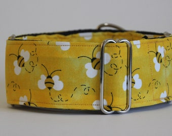 "Greyhound Yellow Bees 2"" Martingale Collar"
