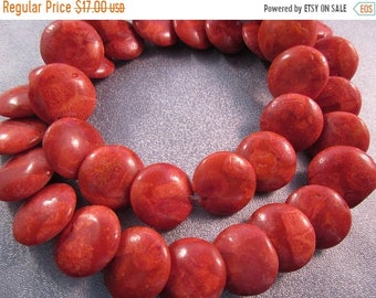 ON SALE 20% OFF Sponge Coral Coin Beads 32pcs