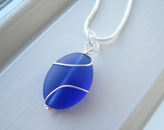 Cobalt Blue Necklace - Frosted Glass Jewelry - Bridesmaid Necklace - Pendant Necklace - Wire Wrapped - Blue Glass  - Royal Blue Jewelry