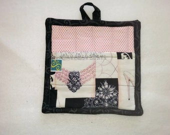 9 X 8 Breakfast at Tiffany's, Pearls, Tiara, Shoes, Pink, Black, Pot Holder, Hot Pad, Oven Mitt, Insulated, Pocket, Loop, Quilted, Kitchen