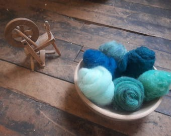 1 oz of wool roving and batting shades of teal for spinning weaving felting