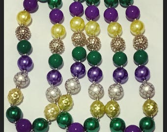 Mardi Gras themed chunky necklace