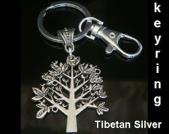 Tree of Life Keyring | Tibetan Silver Tree of Life Pendant on this attractive Tree of Life Keyring - Great Gift idea