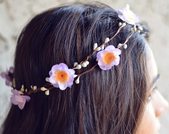 THE MALIA - Purple Flower Halo Crown Double Vine Flower Girl  Hair Jewelry Accessories Boho Floral Headpiece Spring Christmas Crown