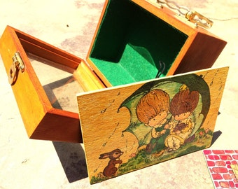 Vintage Wooden Box Purse with Two Inserts