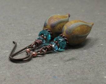 Mustard & Aqua Blue Bead Earrings Niobium Hypoallergenic Rustic Boho Earrings Statement Jewelry