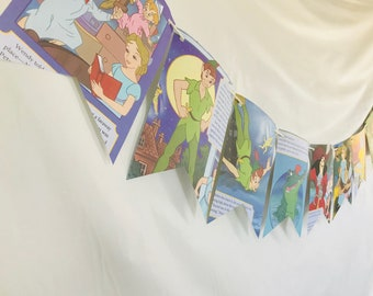 Peter Pan Story Book Pages Bunting Pennants Nursery Decor Baby Shower Birthday Party Garland Flags
