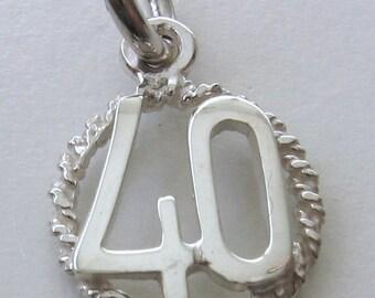 Genuine SOLID 925 STERLING SILVER 40 th birthday Anniversary charm pendant