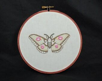 Moth Embroidered Hoop Art