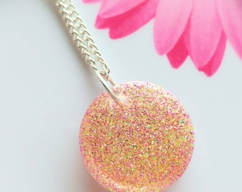 Multicolor Glitter Resin Necklace/resin jewelry/spring fashion
