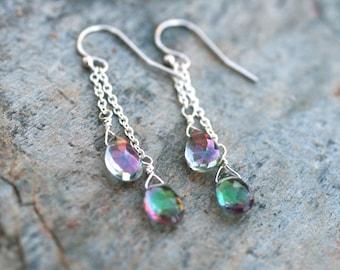 Mystic Topaz Gemstone, Sterling Silver Earrings, Pink and Green Gemstone, Teardrop Briolette Earrings, Rainbow Mystic Topaz Gemstone Jewelry