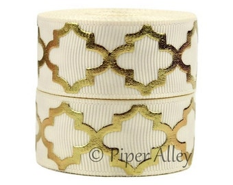"Ivory Ribbon, 7/8"" Gold Foil Print Quatrefoil Grosgrain Ribbon - 5 yards - Ivory"