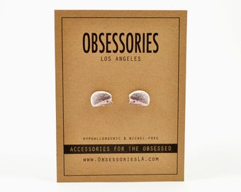 Hedgehog Earrings Stud Earrings Post Earrings Pet Hedgehog Jewelry Hedgehog Accessories Hedge Hog Small Animal Kawaii Hedgehog Gift Idea