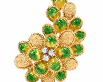 Vintage Botanical Motif 18 Karat Yellow Gold Diamond Enamel Brooch pin