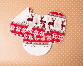 Winter Holiday Christmas Gender neutral Bib Burp cloth Flannel Chenille Little Tommys Snaps Reindeer deer Snowflakes Red Gray Soft Absorbent