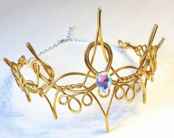 Gold REGINA Regal Queen Crown - Hand Wire Wrapped - Choose Your Own COLOR - Cosplay Circlet Bridal Tiara Wedding Hairpiece