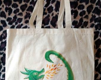 Unique Hand-Painted Dragon Tote Bag
