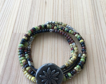 Boho Wrap Bracelet, Beaded Bracelet, Multi Strand Leather Bracelet, Layered, Button Closure, Seed Bead Bracelet, Gift For Her, Mother's Day