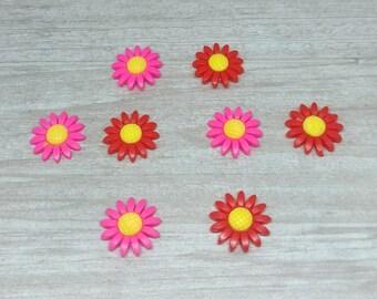 Daisy magnet set, Flower magnet set for mom, Fun flower magnets for teacher, Magnets for memo board, Strong fridge magnets, red pink magnet