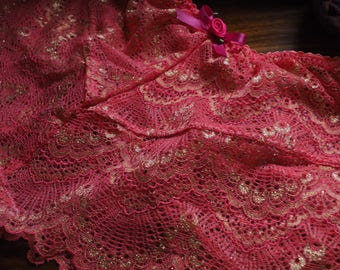 Coral Pink Stretch Lace UK Size 10