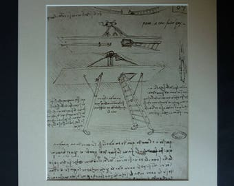 Vintage Leonardo da Vinci Illustration of a Study of Ideas for a Flying Machine