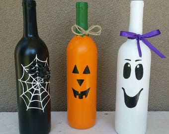 Halloween Wine Bottle Trio