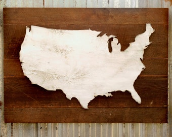 United States Map Wooden Reclaimed Rustic Decor US Wall Map USA Map Wall Art Rustic Map Office Decor