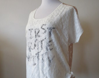 Combined Lace Blouse Top with Ties One Size