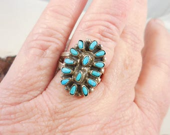 Native American Sterling Turquoise Petit Point Ring signed AG