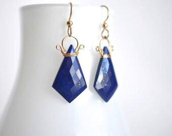 Celine - boucles d'oreilles de Lapis Lazuli 14k GF || Lapis Lazuli Dangles || 14 k Gold Filled boucles d'oreilles géométriques