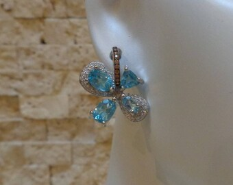 Blue Zircon and Sterling Silver pave earrings