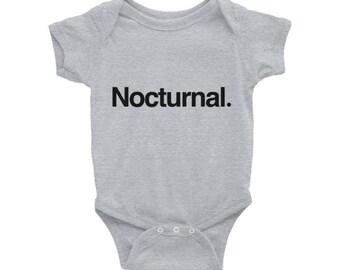 Nocturnal. Typography Baby Onesie