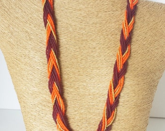 Thanksgiving necklace, maroon and orange necklace, beaded necklace, orange and gold, seed bead jewelry, bridesmaid necklace,braided necklace