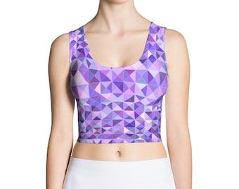 Trippy Triangle Pattern Purple Crop Top