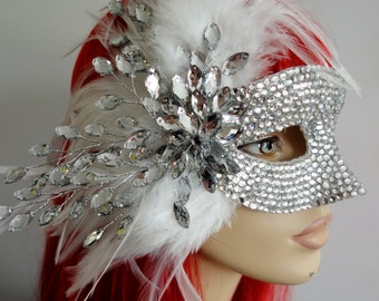 A Summer Gala on Gatsby's Lawn! Jazz-Age Inspired- Pure White Feathers & Silver Crystals Masquerade Mask