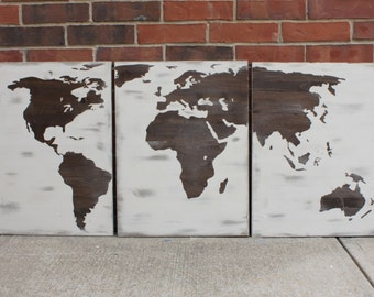 Rustic Farmhouse style Distressed Wood World Map