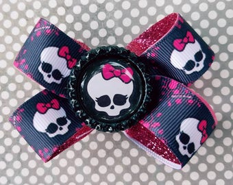 Monster High Glitter Lined Bow Cosplay Costume Skull Ghoul Halloween