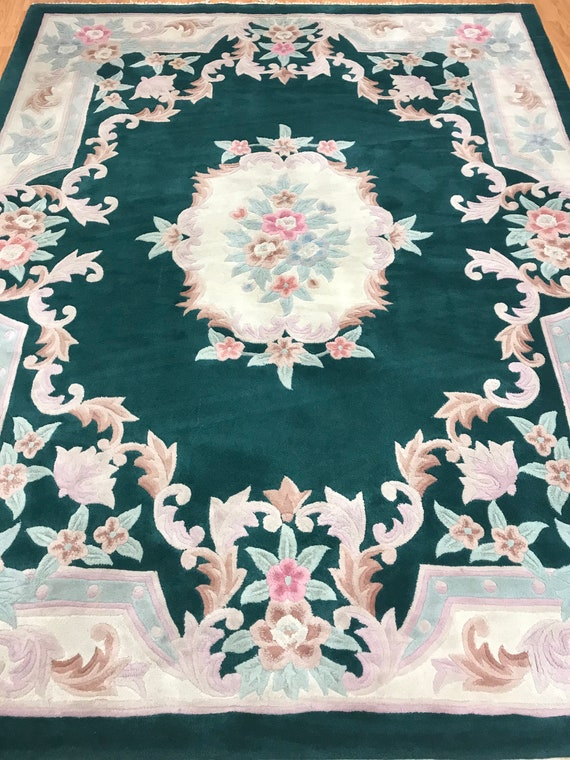 """7'2"""" x 9'2"""" Chinese Aubusson Oriental Rug - Hand Made - 100% Wool - Tufted"""