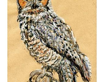 Great Horned Owl 8X10 9X12 or 11X14 print - Bird Art Pastel Mixed Media Drawing